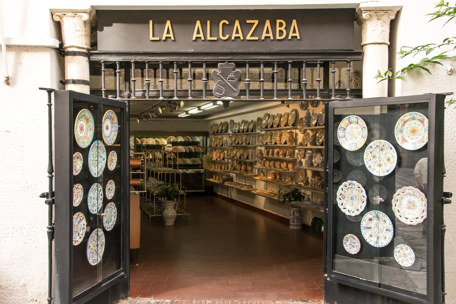 een keramiekwinkel in het centrum van Sevilla